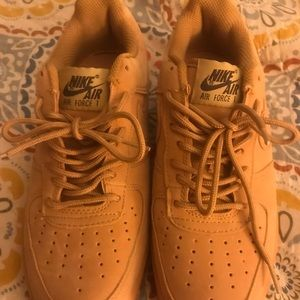 Camel suede Nike Air Force 1's
